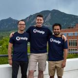 Pictured above, from left: Fletcher Richman with Halp co-founders Tristan Rubadeau and Komran Rashidov on a balcony in Boulder with the Flatirons in the background.