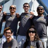 A group photo of the Hyperloop team in matching T-shirts