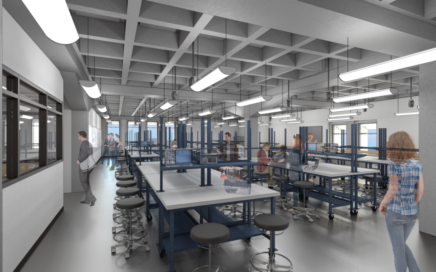A rendering showing the fully renovated circuits lab.