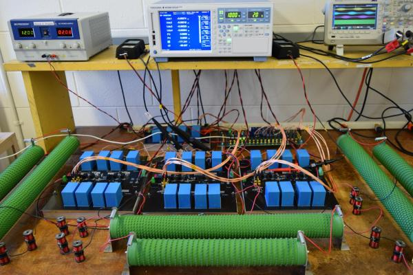 An experimental battery setup on a lab table
