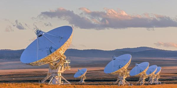 Very Large Array Satellite Dishes at Sunset in New Mexico