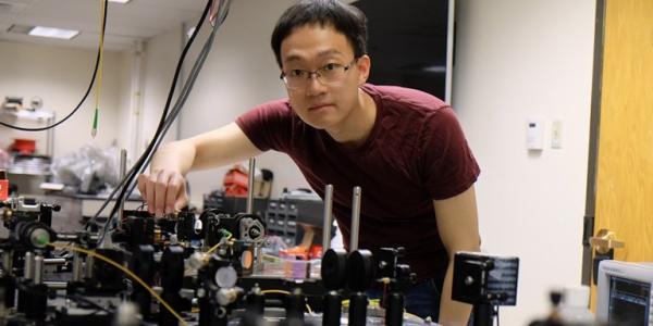 Bowen Li in his lab