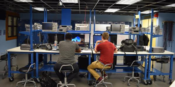 Students working in the renovated circuits lab.