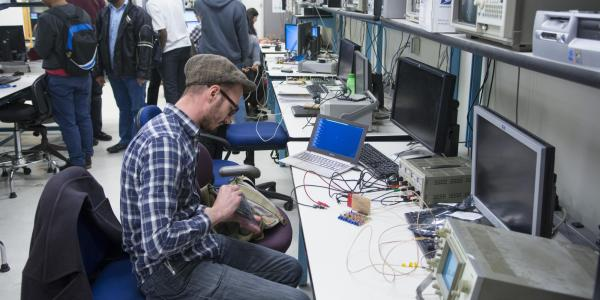 Students work on projects in the embedded systems lab