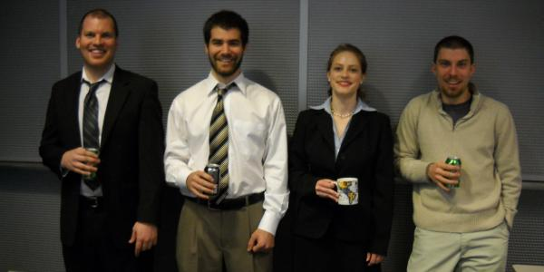 The Energy Directors team with their caffeinated beverages of choice