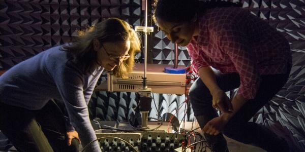 Distinguished Professor Zoya Popovic works with a graduate student in an anechoic test chamber