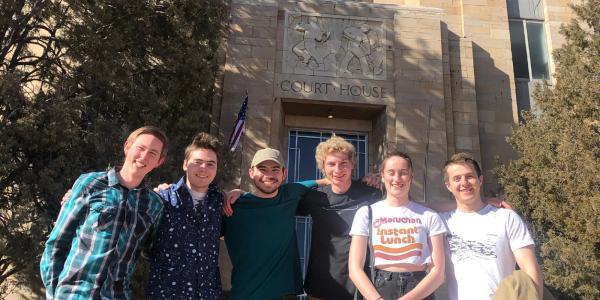 The Skytanic team outside the Boulder County Courthouse, pre-coronavirus