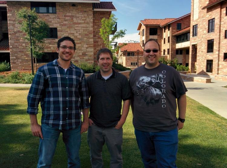 Murad Kablan, Eric Keller and Nigel Sharp on campus