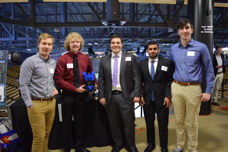 The team with their prototype at the 2018 engineering expo.