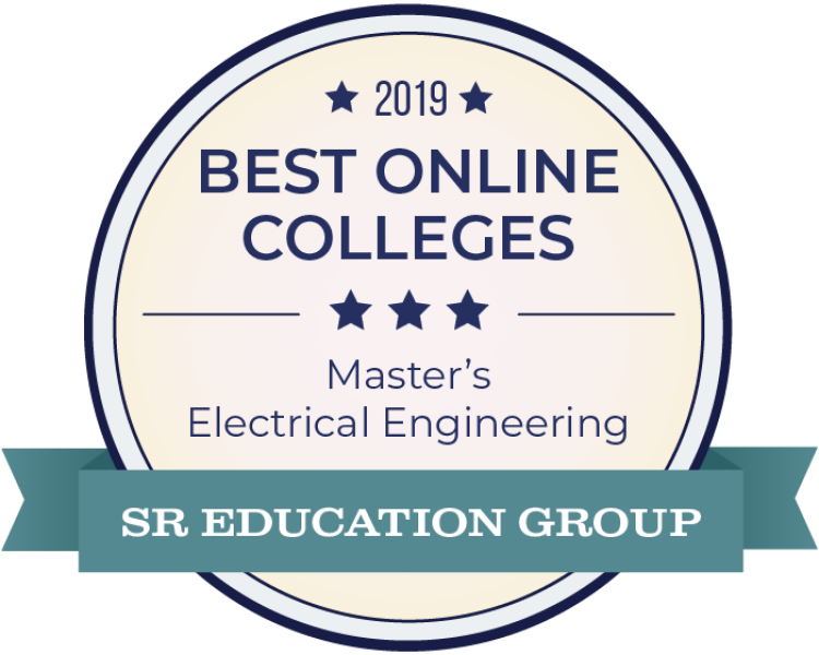 Digital award badge from SR Education Group for online MS EE