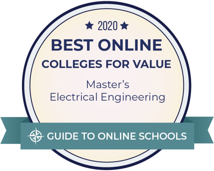 Digital award badge from Guide to Online Schools for online MS EE