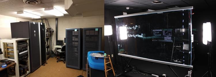 A before and after photo of our old server room on the left, and the new studio on the right