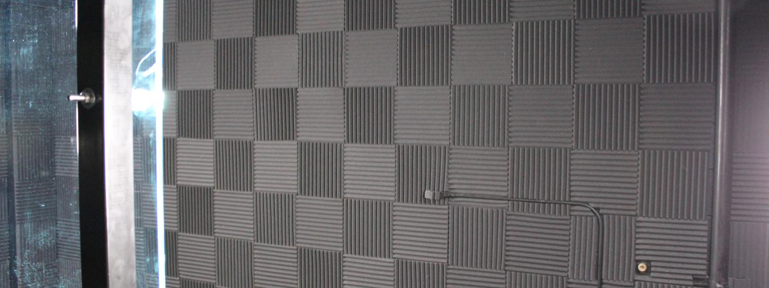 Soundproof tile in the presenter's area
