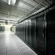 Rows of servers in a data center
