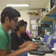 Students working in embedded systems lab