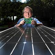 Robert Erickson with solar panel