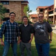 Murad Kablan, Eric Keller and Nigel Sharp on campus