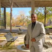 Xavion Cowans in the courtyard of the Engineering Center