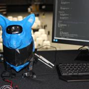 A robotic seeing-eye dog at the 2018 expo.