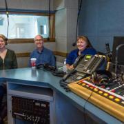 Sarah DaFoe, Fred Hobbs and Melinda Piket-May in the KGNU studio.