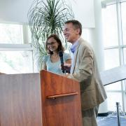 Zoya Popovic with CU Engineering Dean Bobby Braun.