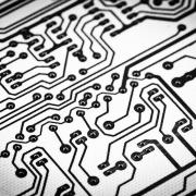 Up-close image of a printed circuit board.