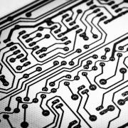 Detail image of a circuit board, in black and white.