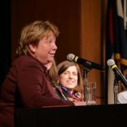 Terri Fiez speaks during a panel session at the symposium.