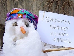 Snowman against climate change