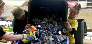 Students recycling paper cups from the Bolder Boulder