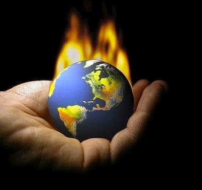 Global warming globe on fire
