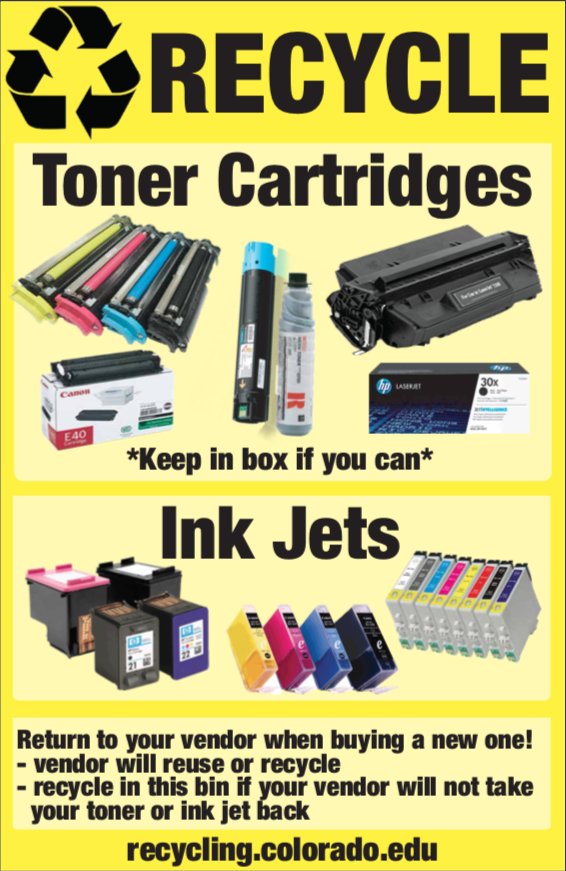 List of acceptable toners and ink jets