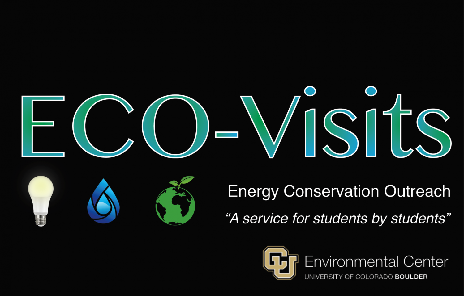 "ECO-Visits logo with text in blue and green and the following taglines ""Energy Conservation Outreach. A service for students by students"" and images of a lightbulb, a water drop, and a green earth with a leaf."