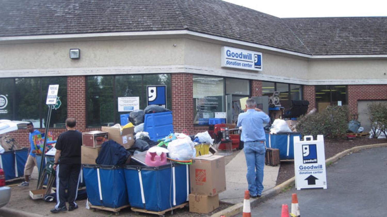 goodwill donation center over full