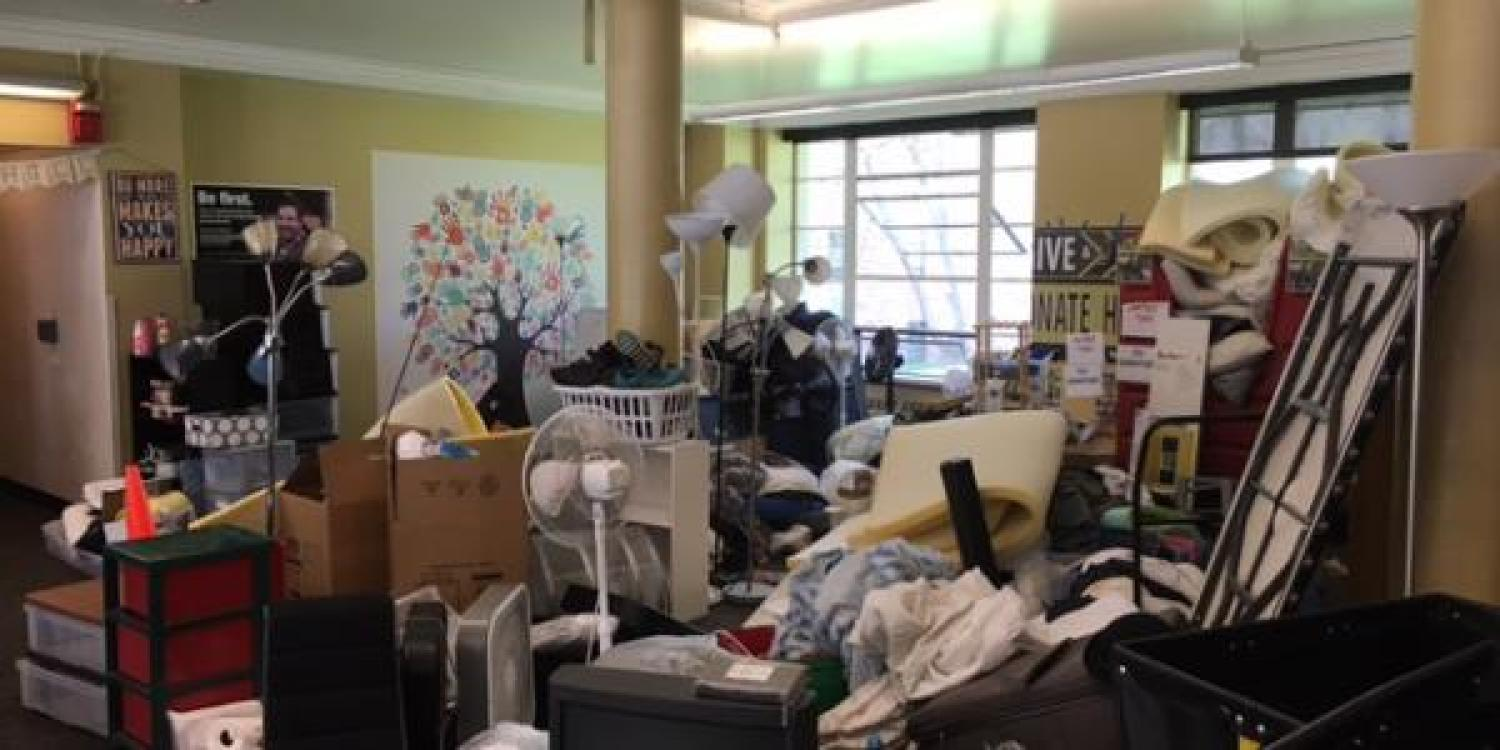 Donations in dorm lobby overflowing