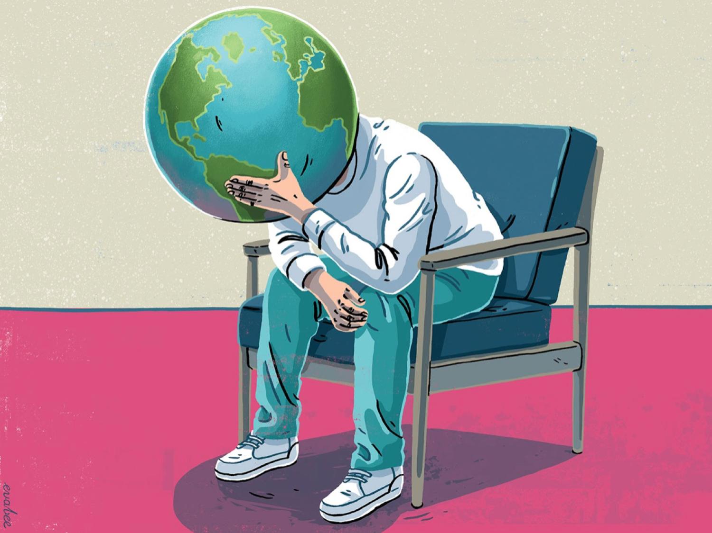 Man with earth head