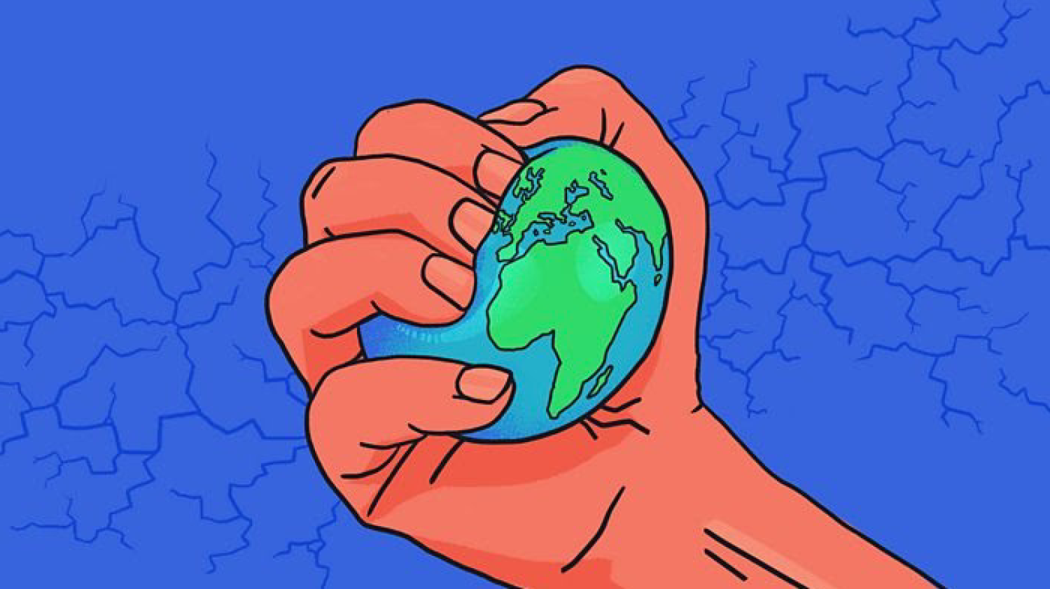 World as a stress ball in someone's hand