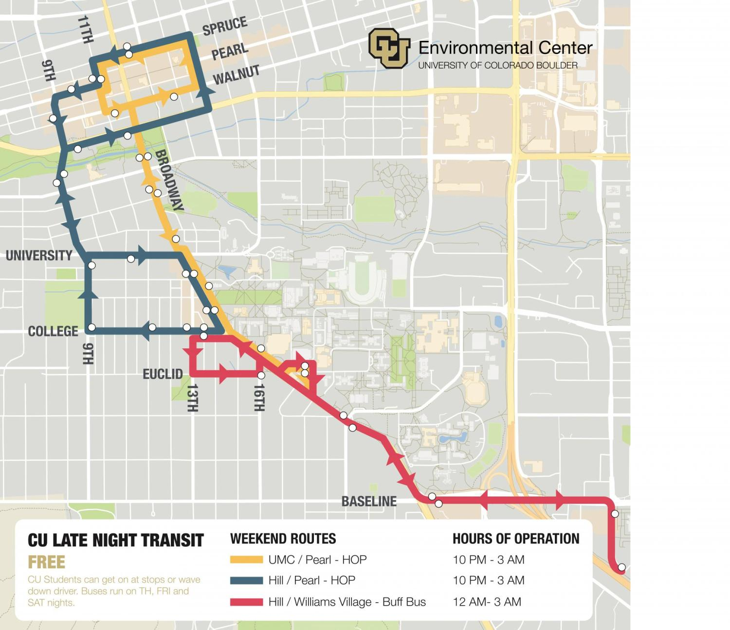 Late Night Transit Routes map