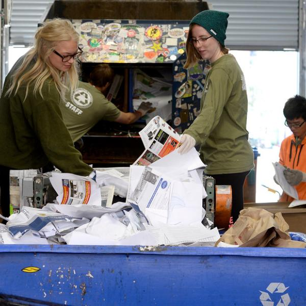people working at the Recycling Operations Center