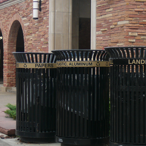 Recycling and landfill bins on campus