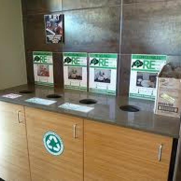 example of landfill, compost, and recycling cabinets located in the dining halls