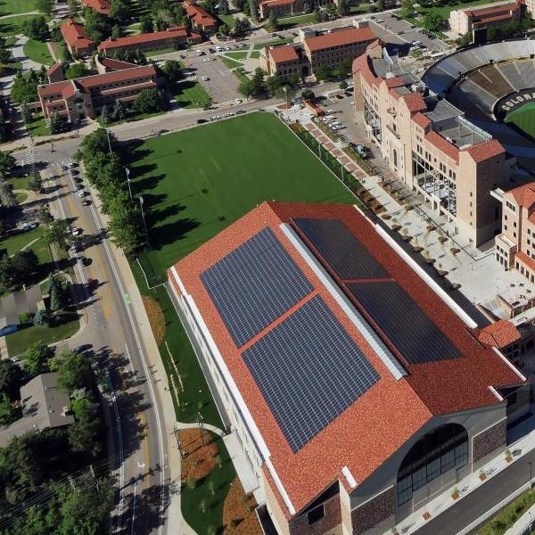 solar panels on athletic facility at cu