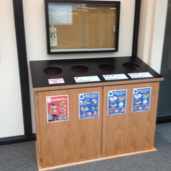 example of landfill, compost, and recycling cabinets located in the Regent Administrative building