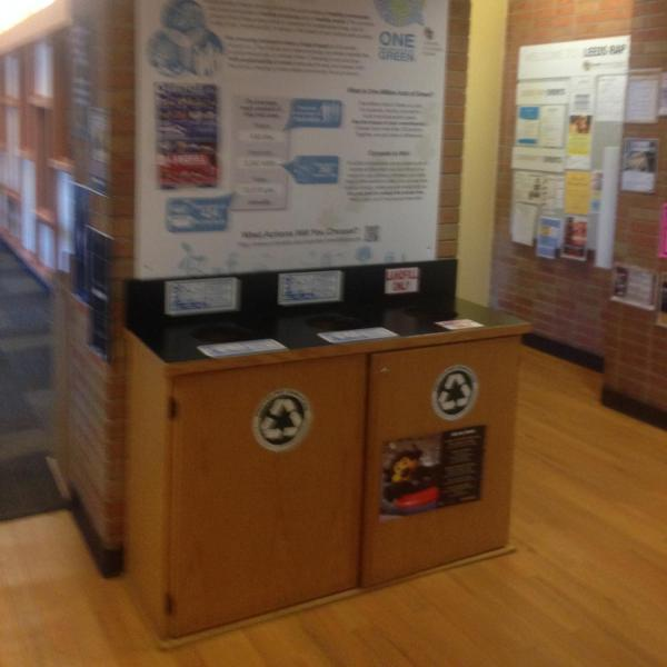 example of landfill, compost, and recycling cabinets located in on-campus housing