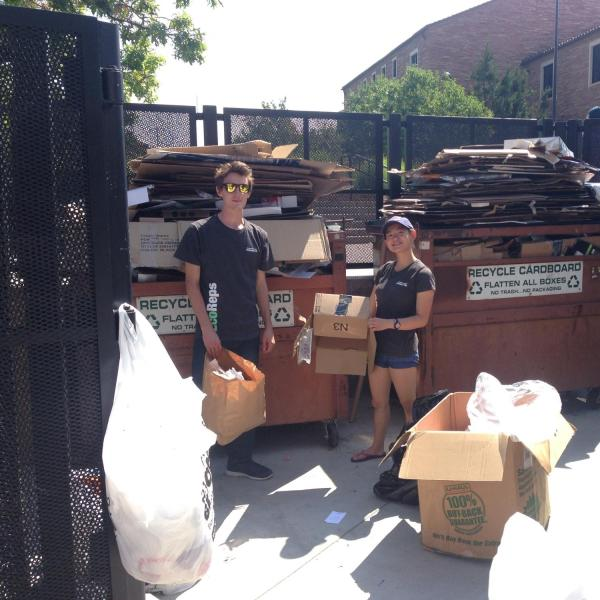 Students rounding up recycling