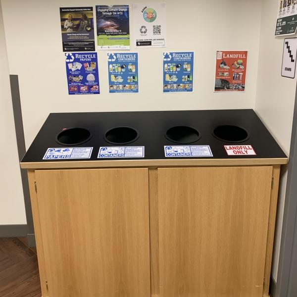 example of landfill, compost, and recycling cabinets located in buildings around campus