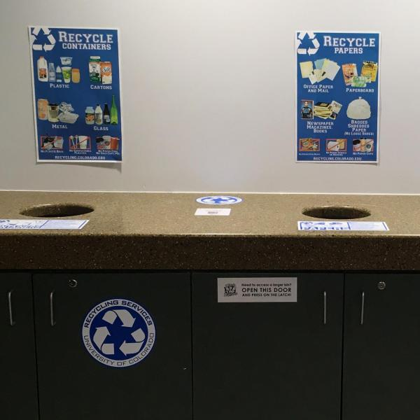 example recycling cabinets located on the upper floors of the UMC