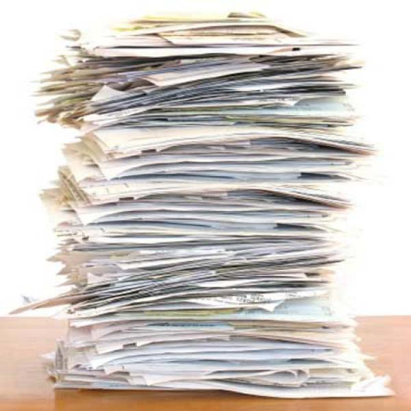 Stack of paper waste