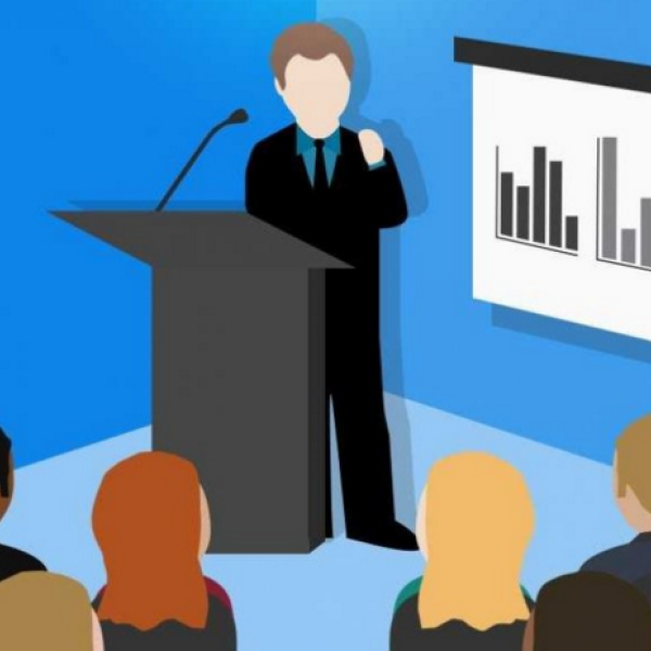 animation of man giving a presentation