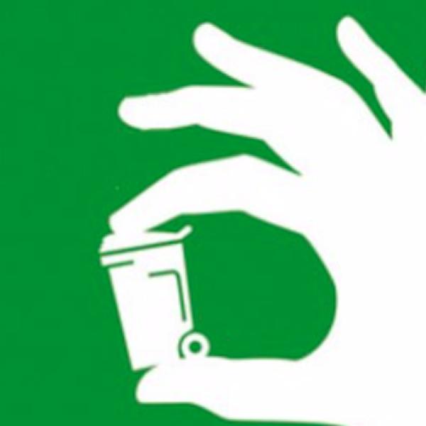Tiny waste bin in-between fingers
